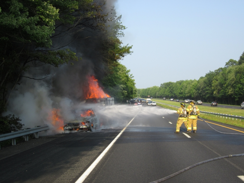 Vehicle and Camper Fire Rt195 MP10.7 WB